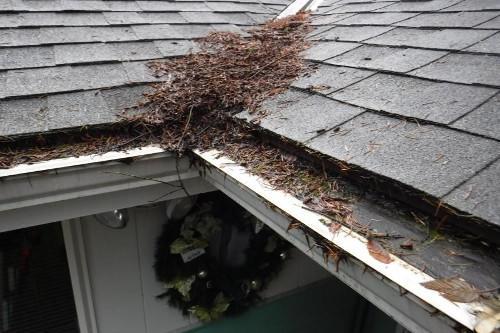 LeafFilter corner debris